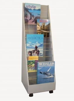 SU087P Vertical bookstand with perspex dividers